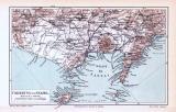 Neapel Stadtplan + Umgebung von Neapel ca. 1893 Original der Zeit