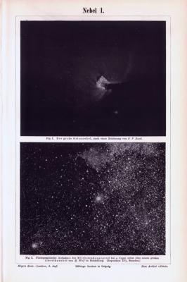 Drucke aus 1893 zeigen astronomische Darstellungen von Nebeln.