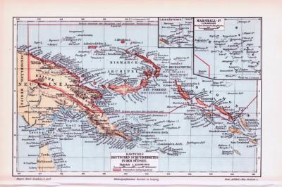 Farbig illustrierte Landkarten aus 1893 der Deutschen Kolonien und Neuseelands.