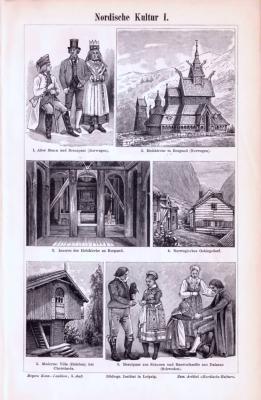 Stiche aus 1893 zeigen verschiedene Szenen und Objekte aus der Nordischen Kultur.