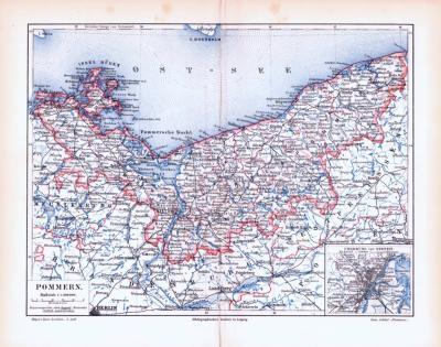 Farbig illustrierte Landkarte von Pommern aus dem Jahr 1893.