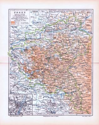 Farbig illustrierte Landkarte von Posen aus dem Jahr 1893.