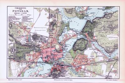 Farbig illustrierte Landkarte von Potsdam und Umgebung aus dem Jahr 1893.