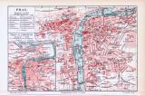 Farbig illustrierter Stadtplan von Prag aus dem Jahr 1893.