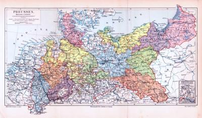 Farbig illustrierte Landkarte von Preussen aus dem Jahr 1893.