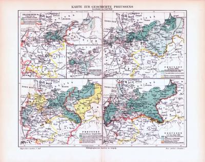 4 farbig illustrierte historische Landkarten aus 1893 zur Geschichte Preussens.