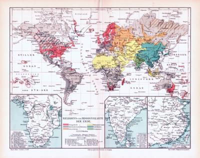 Farbig illustrierte Landkarte von der Welt aus dem Jahr 1893 zeigt Religionsverteilung und Missionierungen.