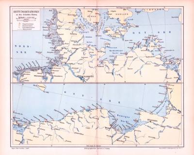 Farbig illustrierte Landkarten zeigen Rettungsstationen an den Küsten von Nordsee und Ostsee  aus dem Jahr 1893.