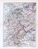 Farbig illustrierte Landkarte der Rheinprovinz aus dem Jahr 1893.