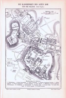 Stich aus 1893 zeigt die Kaiserforend es alten Roms und den Palatin.