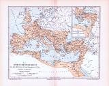 Farbig illustrierte Landkarte aus dem Jahr 1893. Zeigt das Römische Weltreiches um die Mitte des zweiten Jahrhunderts nach Chr..