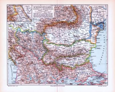 Farbig illustrierte Landkarte aus dem Jahr 1893 zeigt Rumänien, Bulgarien, Servien und Montenegro.