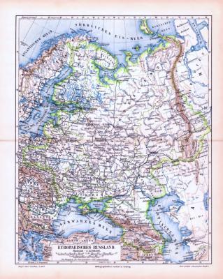 Farbig illustrierte Landkarte aus dem Jahr 1893 zeigt den europäischen Teil Russlands.