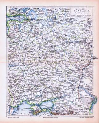 Farbig illustrierte Landkarte aus dem Jahr 1893 zeigt den mittleren Teil Russlands.
