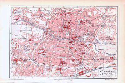 Farbig illustrierter Stadplan von Nürnberg aus dem Jahr 1893 im Maßstab 1 zu 12.500.
