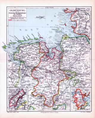 Farbig illustrierte Landkarte aus dem Jahr 1893 zeigt den Oldenburg und die Mündungsgebiete deutscher Flüße in die Nordsee.