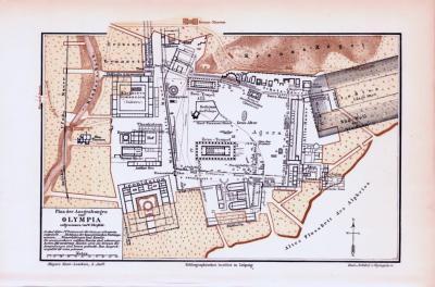 Farbig illustrierte Karte der archäologischen Ausgrabungen in Olympia aus dem Jahr 1893.