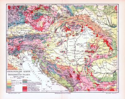Farbig illustrierte Karte der geologischen Strukturen Österreich Ungarns aus dem Jahr 1893.