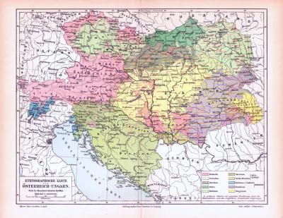 Farbig illustrierte ethnographische Landkarte aus dem Jahr 1893 zeigt die Verteilung der Volksgruppen in Österreich Ungarn.