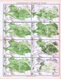 Farbig illustrierte Karten aus 1893 zeigen landwirtschaftliche Anbaugebiete Österreich-Ungarns.