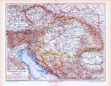 Farbig illustrierte Landkarte von Österreich Ungarn aus dem Jahr 1893.