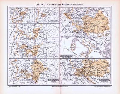 Farbig illustrierte Landkarten zur Geschichte von Österreich-Ungarn aus 1893.