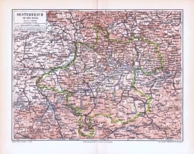 Farbig illustrierte Landkarte von Österreich oberhalb der Enns aus 1893.