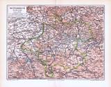 Farbig illustrierte Landkarte von Österreich oberhalb der...