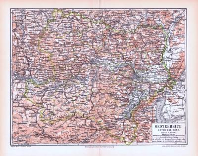 Farbig illustrierte Landkarte von Österreich unterhalb der Enns aus 1893.