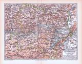Farbig illustrierte Landkarte von Österreich unterhalb...