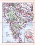 Farbig illustrierte Landkarte von Ost Indien aus 1893.