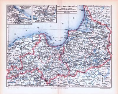 Farbig illustrierte Landkarte von Ost und Westpreussen aus 1893.