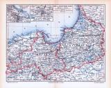 Farbig illustrierte Landkarte von Ost und Westpreussen...