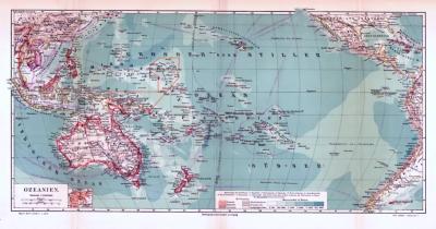 Farbig illustrierte Landkarte von Ozeanien aus 1893.