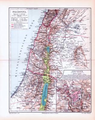 Farbig illustrierte Landkarte von Palästina aus 1893.