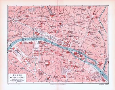 Farbig illustrierter Stadtplan der inneren Stadt von Paris aus 1893.
