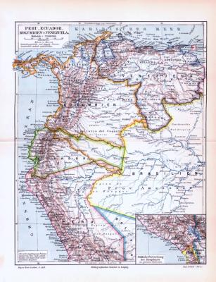 Farbig illustrierte Landkarte von Peru, Ecuador, Kolumbien und Venezuela aus 1893.