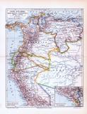 Farbig illustrierte Landkarte von Peru, Ecuador,...
