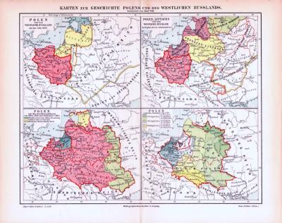 Farbig illustrierte Landkarten zur Geschichte Polens des Baltikums und Rußlands aus 1893.