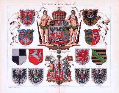 Chromolithographie aus 1893 zeigt die Wappen verschiedener Provinzen Preussens.