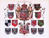 Chromolithographie aus 1893 zeigt die Wappen...