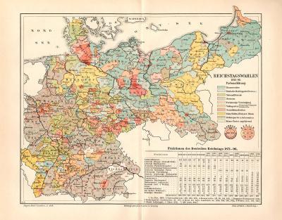 Farbig illustrierte Landkarte zu den Reichstagswahlen des Deutschen Reichstages aus 1898.