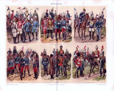 Chromolithographie aus 1893 zeigt die verschiedenen Uniformen der Reiterei aus 6 europäischen Ländern.
