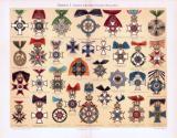 Chromolithographie aus 1893 zeigt 33 verschiedene Orden aus deutschen Staaten.