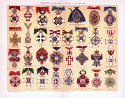 Chromolithographie aus 1893 zeigt 31 verschiedene Orden aus europäischen Staaten.