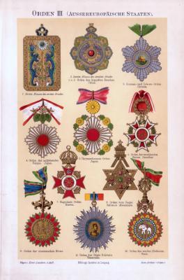 Chromolithographie aus 1893 zeigt 10 verschiedene Orden aus der Welt.