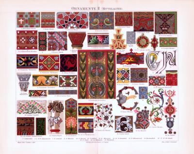 Chromolithographie aus 1893 zeigt verschiedene Ornamente aus dem Mittelalter.