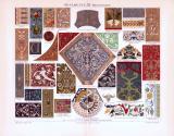 Chromolithographie aus 1893 zeigt verschiedene Ornamente aus der Renaissance.