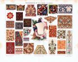 Chromolithographie aus 1893 zeigt verschiedene Ornamente aus Asien.