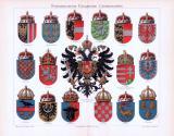 Chromolithographie aus 1893 zeigt verschiedene Länderwappen aus Österreich Ungarn.